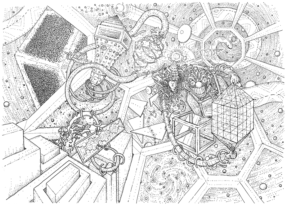 Spaces and times, drawing by DMT vision