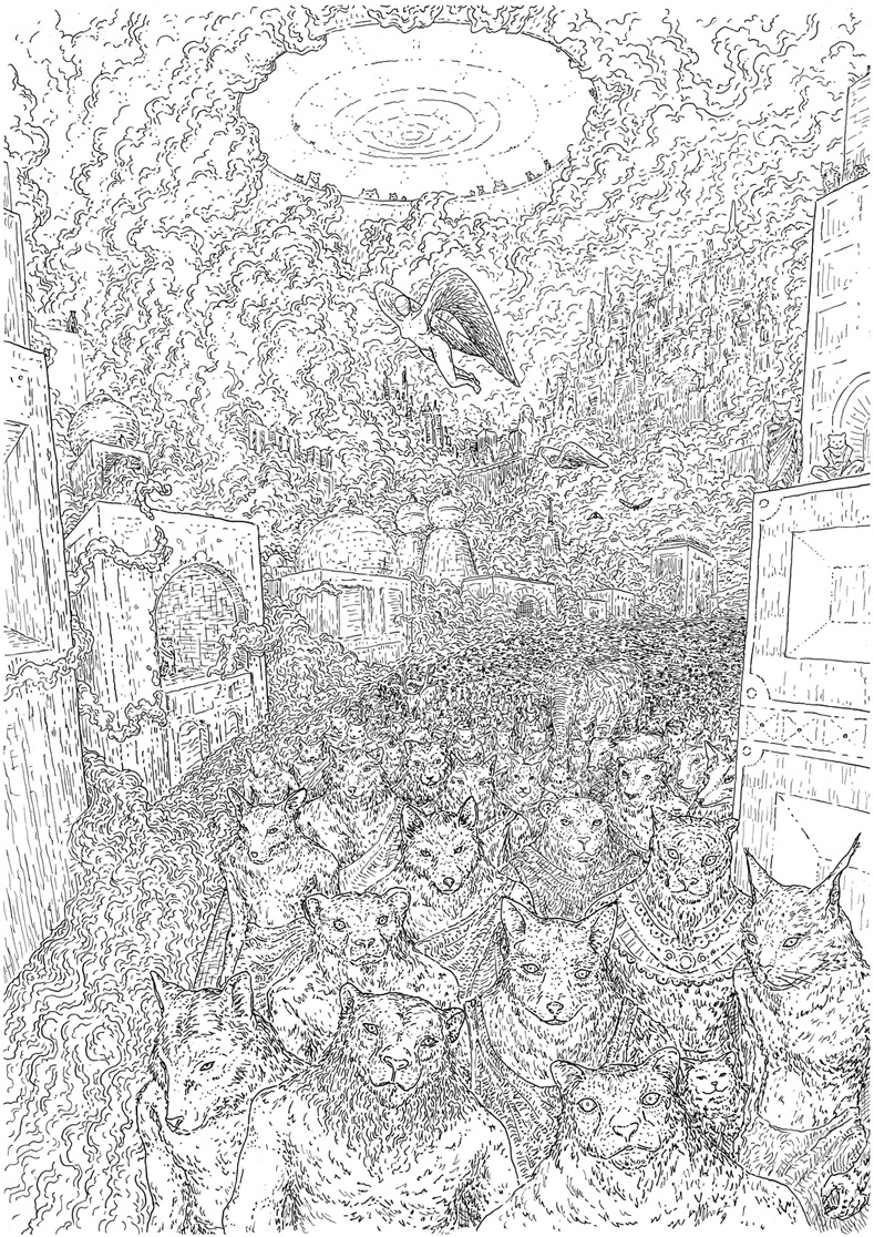 The city of the Therianthropes, drawing by DMT vision