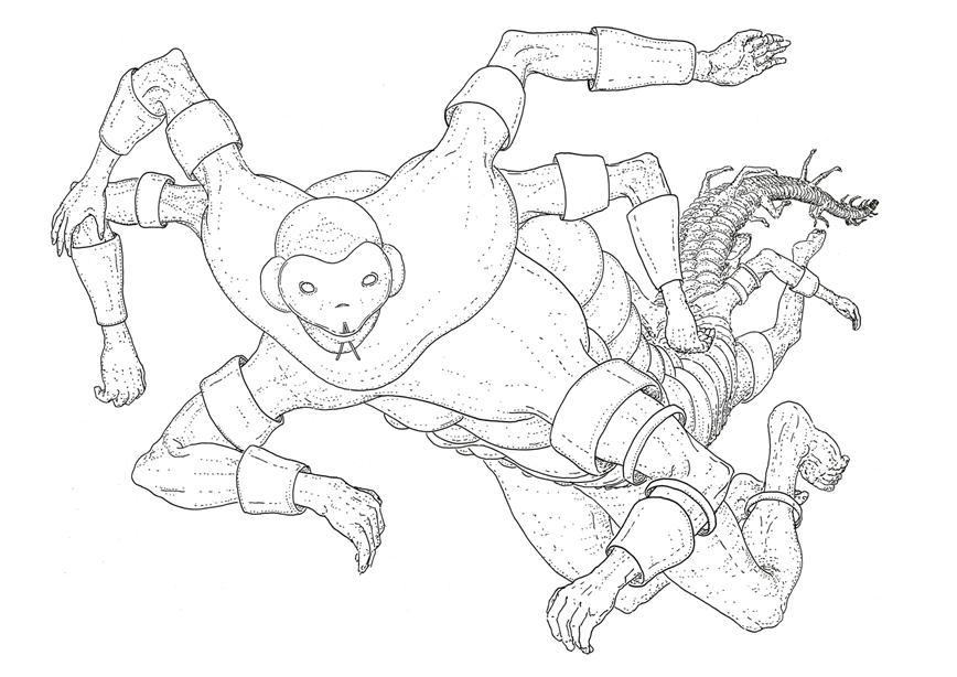 Jinn, drawing by DMT vision