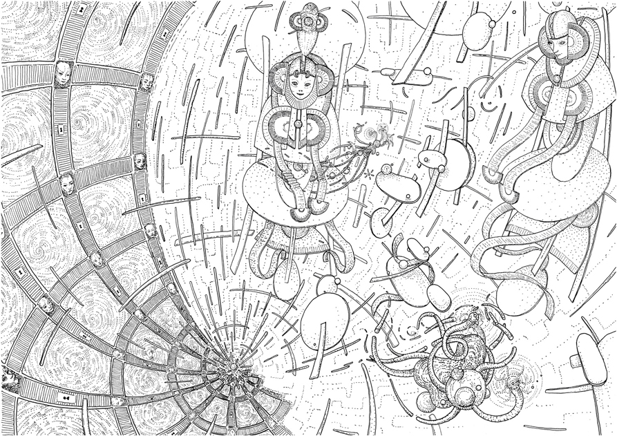 The multiverse, drawing by DMT vision