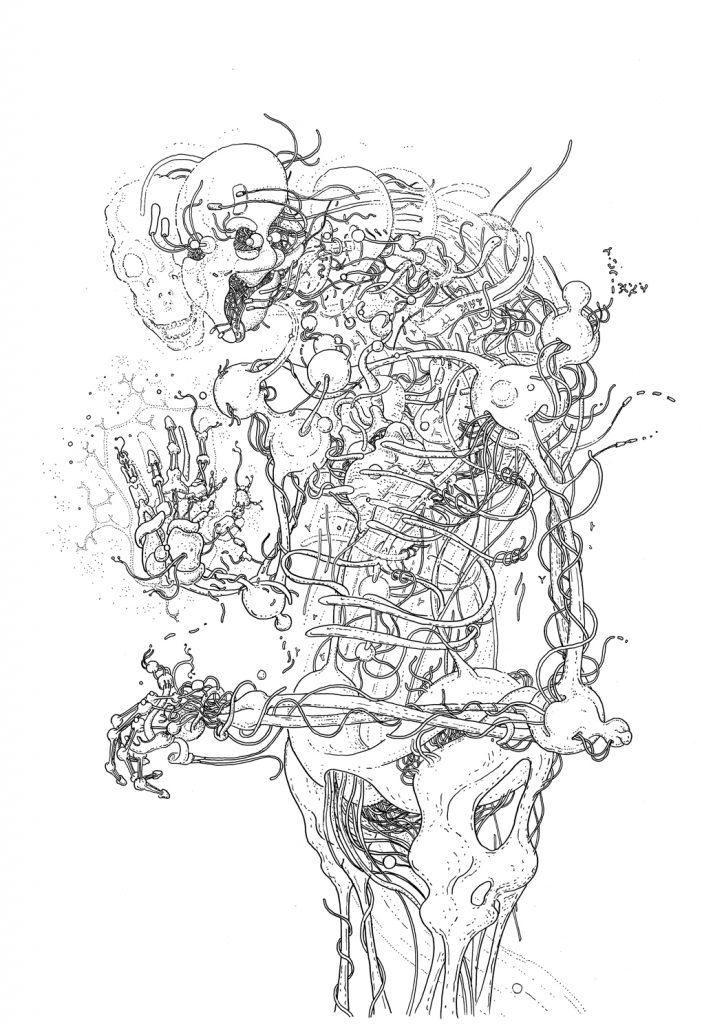 DMT Skeleton, drawing by DMT vision