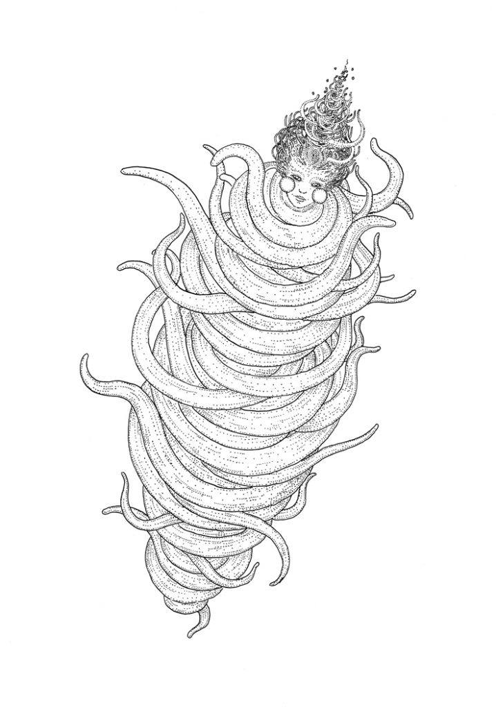 Octopus lady, drawing by DMT vision