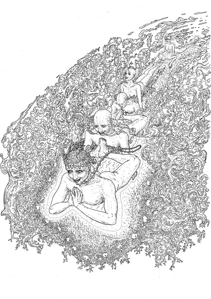 Yoga, drawing by DMT vision
