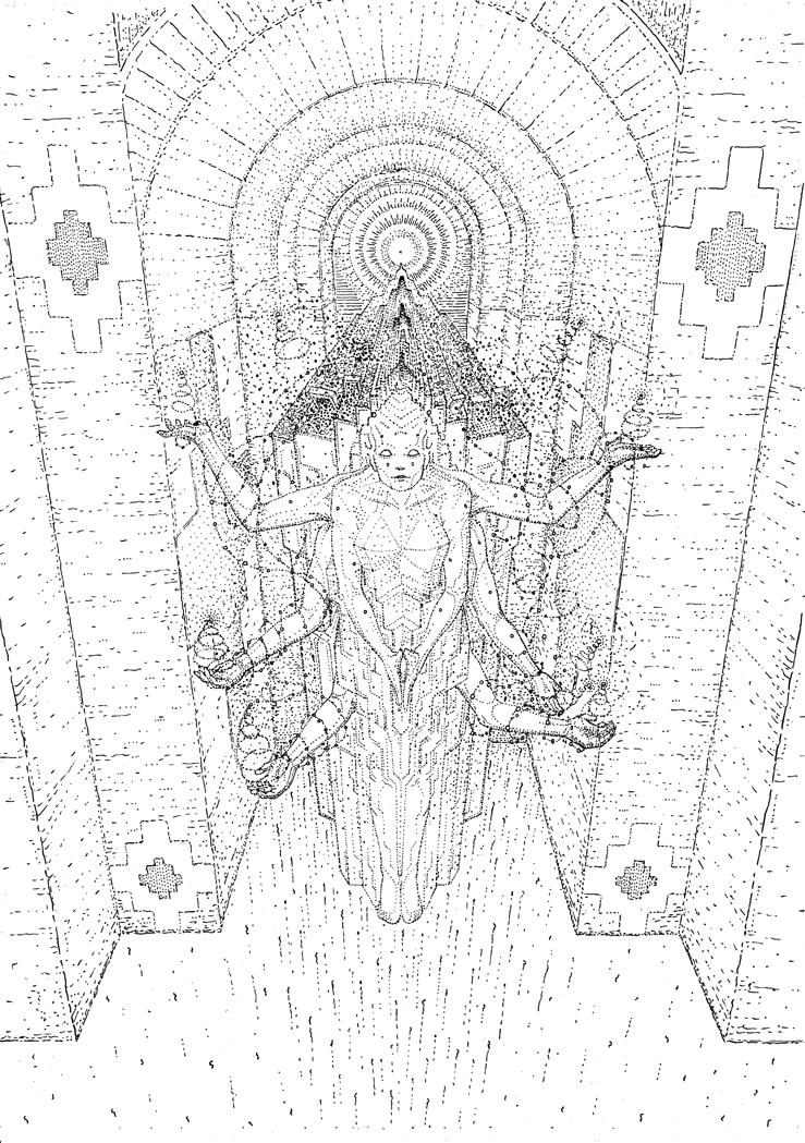 The earth goddess, drawing by DMT vision